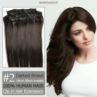 "CLIP IN REMY HUMAN HAIR EXTENSIONS 14""-30"" #2 darkest brown Customized accept"