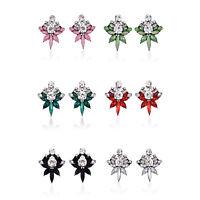 Women Fashion Rhinestone Crystal Flower Ear Stud Dangle Earrings Jewelry