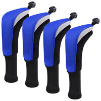 Golf Hybrid Headcovers Wood Club Head Covers Interchangeable No. Tag 4 Pcs Blue