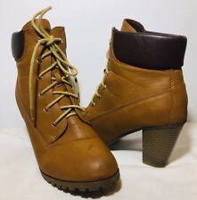 Bella Marie Women's Brown Camel Lace Up Ankle Boots Round Toe 2.5 High Size 10