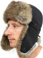 Real Rabbit Fur Men Russian Hat Ushanka Winter Warm Snow Ski Trapper Aviator New