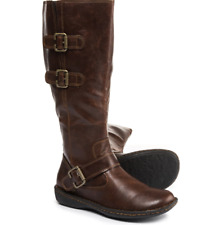 NEW BORN B.O.C CLEO TALL HIGH BOOTS WOMENS 6 C38357 BROWN WIDE CALF ZIP SIDE