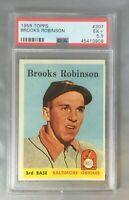 1958 TOPPS BROOKS ROBINSON 307 ORIOLES HOF BALTIMORE CARD 2ND YEAR PSA 5.5 EX+