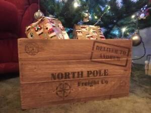 Personalised Wooden Rustic Christmas Eve Crate Storage Xmas Gift Treat Box Santa