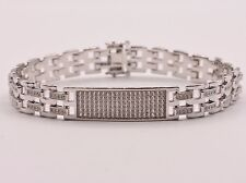 Men's Clear CZ Rolex Chain ID Link Bracelet Sterling Silver 925 White 8.5""