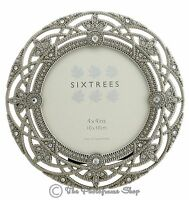 """Ornate Vintage Silver & Crystal Round 4"""" Photo frame  - Helena by Sixtrees"""