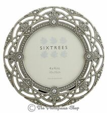 "Sixtrees Helena 2-516-44 Ornate Vintage Silver & Crystal Round 4"" Photo frame"