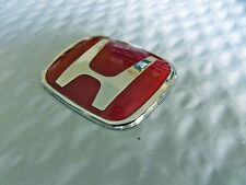 New for HONDA Chrome/Red Epoxy Steering Wheel Center Badge Logo (S) Free Ship