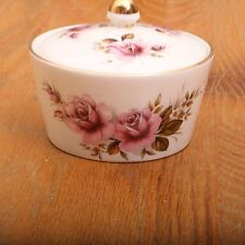 Vintage Crown Devon Pink Flower Sugar Bowl With Lid