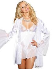 White Bridal Lingerie Satin Robe Sheer Lace Babydoll Bell Sleeve Set 21928-1