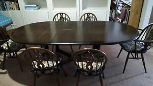 dining setting ,vintage Ercol oval extension table and 6 chairs ( 2 with arms)