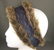 Teal Purple Grey faux fur lined quilted ear warmer muffs head wrap hat cover ski