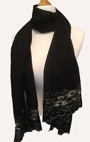 Womens Long Embroidered Wrap Stole Scarf Hijab Pashmina Coloured Sequin NEW