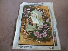 """Needlepoint Sampler Complete Ready to Frame 13 x9"""" Finished Area Cottage Floral"""
