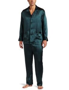 INTIMO MEN'S LUXE SILK LONG SLEEVES FOREST GEEN PAJAMA SET SIZE S NWT