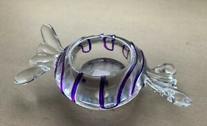 Rare Vtg Mid CenturyClear & Purple Glass Candy Shaped Candle Holder, Hand Blown