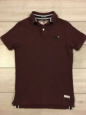 Mens SUPERDRY Classic Polo Shirt Size Slim Fit Medium/ Small RRP £39.99 Burgundy