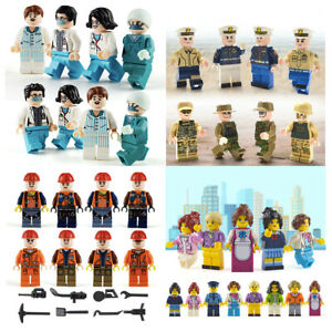 Bulk Creative 8 Minifigures Community City Mini Figures Building Bricks Fit Lego
