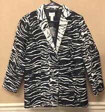 Chicos Size 1 Blazer Jacket Zebra Animal Print Black White NWT