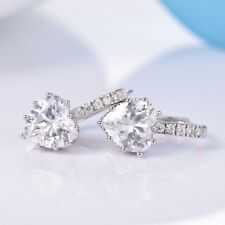 Sparkly 18k White Gold Filled Heart Shape Swarovski Crystal Leverback Earrings