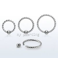 "1pc. 18G 1/4"" 5/16"" 3/8"" Twisted Surgical Steel Captive Bead Ring Earring Tragus"