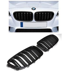 2 GRILLE DE CALANDRE DOUBLE LAME NOIR BRILLANT BMW SERIE 5 F10 F11