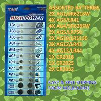 Assorted 24 PCS Coin Cell Battery AG1 AG3 AG4 AG5 AG10 AG12 AG13 CR2016 CR2032