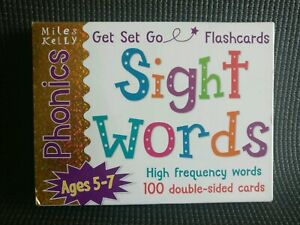 Phonics Ages 5-7 Miles Kelly SIGHT HIGH FREQUENCY WORDS 100 Two Sided Flashcards