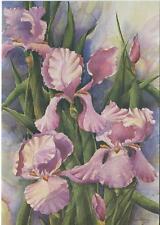 VINTAGE LAVENDAR IRIS FLEUR DE LIS GARDEN FLOWER LEAF NATURE NOTE CARD ART PRINT