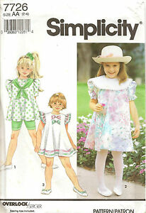 1990s Simplicity Sewing Pattern 7726 Girls Dress Tunic Bicycle Shorts Size 2-4