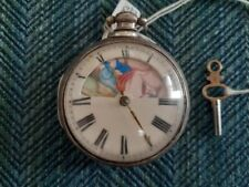 Hallmarked Hereford 1819 date case 1790's Fusee Pocket Watch Erotic Scene