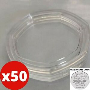 50X HEPTAGON 50P COIN CAPSULES 7 SIDED INCLUDING 1 FREE BREXIT COIN