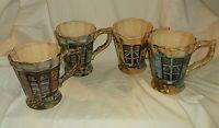 4 Tabletops Rue De Paris Windows Panes Coffee Mugs Cups 16 oz