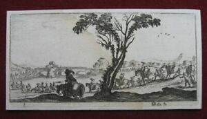 Stefano della Bella: Prozession Reiter Fluss 1690/Horsemen River Print Radierung