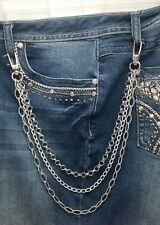 Biker Chick Bling Hip Chain Triple Strand with Swivel Clips Motorcycle Jewelry