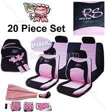20pc Girly Rosa Rs Racing asiento de coche volante cubre Mat Gear Perilla Pedal Set