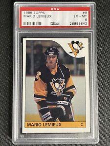 1985 Topps Mario Lemieux #9 Rookie RC PSA 6 EX-MT Very Sharp Card!