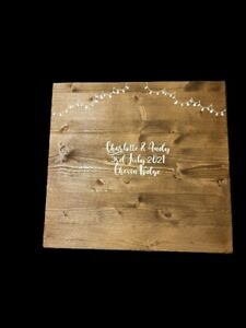 Rustic Wood Wedding Guest Board. Personalised with names, date & venue. Inc pen.