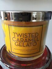 4 OZ BATH & BODY WORKS TWISTED CARAMEL GELATO SMALL CANDLE WITH COFFEE & VANILLA