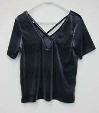 Missguided Velvet Cross Front T-Shirt - Womens US 8 - Grey - NWT
