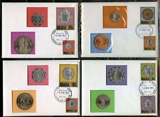 MALTA SET OF EIGHT COIN COVERS  ON 4  CERTIFIED COVERS CANCELED VALLETTA 16 1972