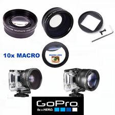 GOPRO HERO 3 3+ 4 5  BLACK WIDE ANGLE LENS+TELEPHOTO ZOOM LENS + 10X MACRO LENS
