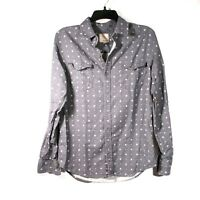 Visitor Premium Mens Size Small Long Sleeve Casual Shirt %100 cotton Blue/Gray