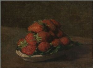 Strawberries on a small earthenware by Henri Fantin-Latour Giclee Canvas Print