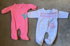 2 Girl Baby Sleepers. 1piece. NB And 0-3 Months. Pink And White.