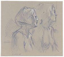 Miriam Slater Original Small Realism Nude Female Figure Portrait  Ink Drawing