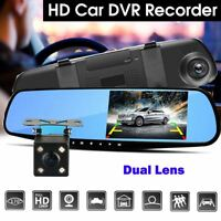 "4.3"" 1080P HD Dual Lens Car DVR Dash Cam Rearview Mirror Camera Video Recorder"