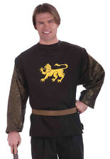 Medieval Knight Shirt Black Men's Poly Shirt With Faux Chainmail