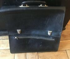 VINTAGE BLACK LEATHER BRIEFCASE SATCHEL LAPTOP BAG LOVELY CONDITION/QUALITY