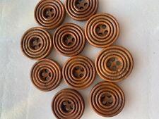 más Oscuro Verde 1 pulgadas Paquete De 6 botón de diseño círculos concéntricos de madera 25mm